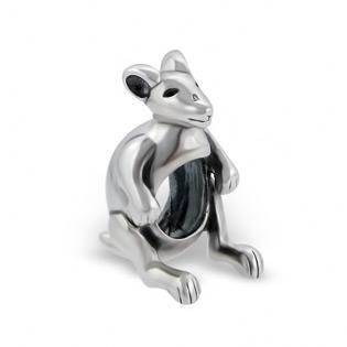 Silver Kangaroo Plain Bead