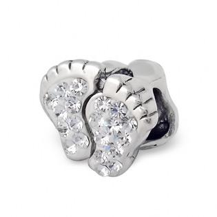 Silver Footprint Jeweled Bead