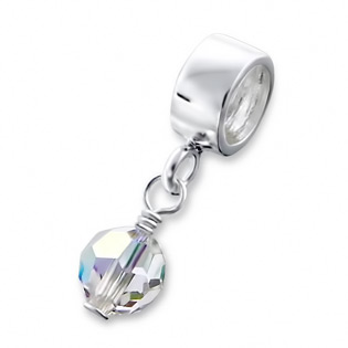 Silver Hanging Crystal Jeweled Bead April Birthstone Crystal