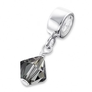 Silver Hanging Crystal Jeweled Bead November  Birthstone Smoky Quartz