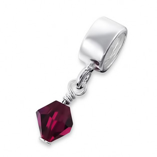 Sterling Silver Hanging Crystal Jeweled Bead with created Ruby July Birthstone Charm