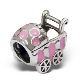 Silver and Pink Enamel Baby Pram Bead