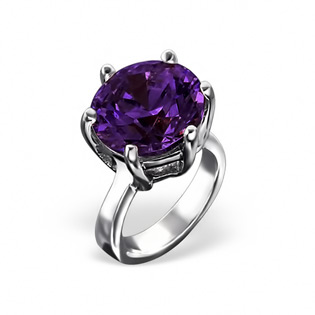 Silver Ring Bead with Amethyst CZ