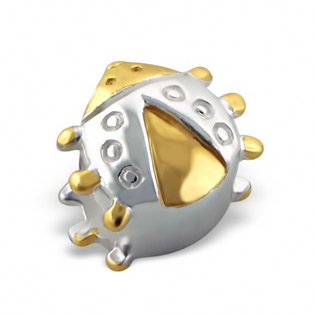 Gold and Silver Ladybug Bead