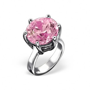 Silver Ring Bead with Pink CZ