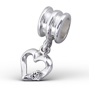 Silver Hanging Heart Jeweled Bead
