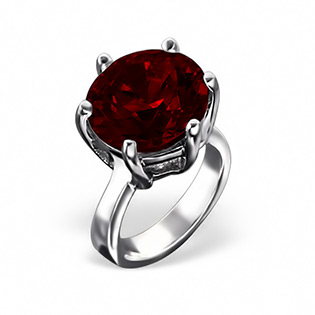 Silver Ring Bead with Garnet CZ