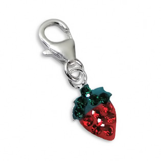 Sterling Silver Strawberry Charm with Crab Lock