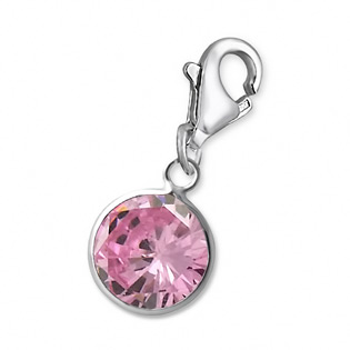 Silver Round Charm With Crab Lock Created Rose Zircon October Birthstone