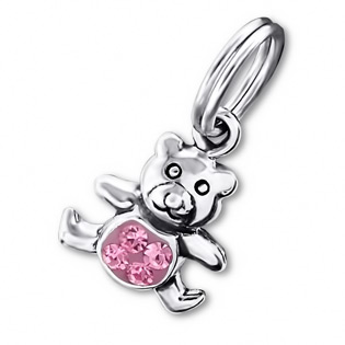 Silver Teddy Bear Charm With Split Ring And Swarowski Crystal