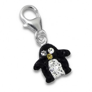 Silver Penguin Charm with Crab Lock and Swarowski Elements