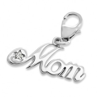 Silver Mom Charm with Lobster Lock