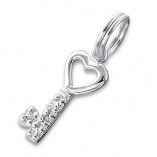 Silver Key Charm With Split Ring