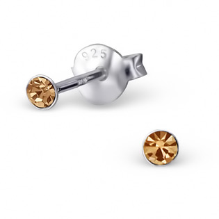 Silver Tulip Ear Studs with colorado topaz CZ
