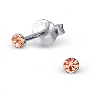 Silver Tulip Ear Studs with light peach CZ
