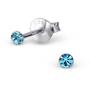 Silver Tulip Ear Studs with aquamarine CZ