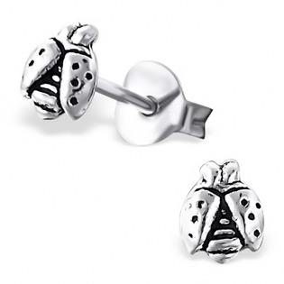 Silver Ladybug Plain Ear Studs