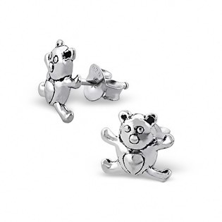 Silver Teddy Bear Plain Ear Studs