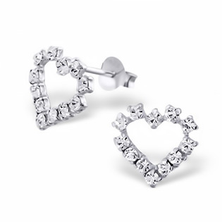 Silver heart Crystal Ear Hearts Studs