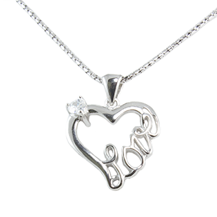 Silver Pendant Heart Shape With Love
