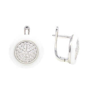 Silver Earrings with White Ceramic and CZ