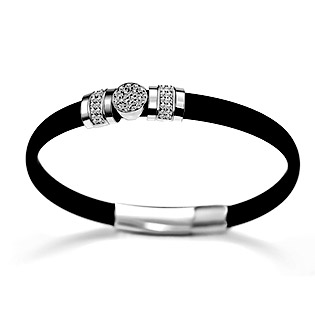 Black Rubber Simulated Diamond Pave Charm Bracelet in sterling silver