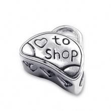 Silver Shopping Bag Bead