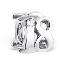 Silver Number Eighteen Jeweled Bead