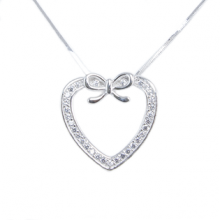 Silver Pendant Heart Shape With Bow