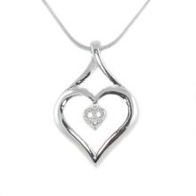 Silver Pendant Heart In Heart Shape