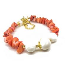 Real Red Coral and White Shell Pearl Afrodita Bracelet