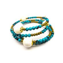 CLEO Real Shell Pearl, Turquoise and Golden Hematite Multi Row Bracelet