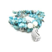 SWAN Real Turquoise and White Shell Pearl Necklace