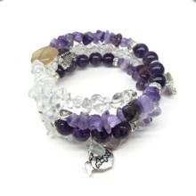 PURPLE DREAM Real Amethyst and Sugar Quartz Bracelet