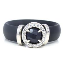 Black ruber and silver ring front