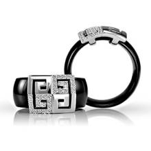 Ceramic and Sterling Silver ring with Diamond CZ Greek Ornament