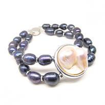 ELIZABETH Mabe Pearl Black Bracelet