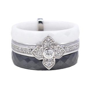 White Ceramic and CZ Silver Ring front