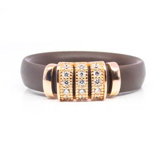 Brown Rubber Ring with Gold Plated Silver and CZ