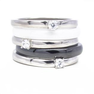 Sectional Silver & Ceramic Ring