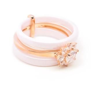 Pink Ceramic Gold Filled Sterling Silver and CZ ring