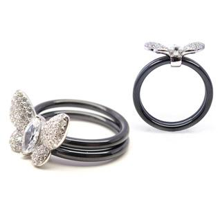 Black Ceramic with silver butterfly ring