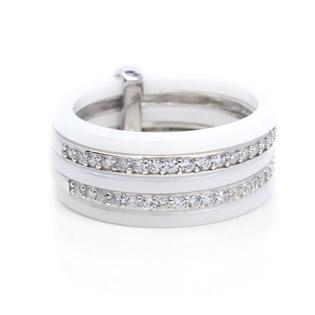 WHITE Ceramic And Cubic Zirconia Ring