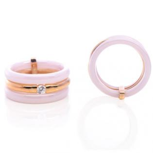 Rose Ceramic and Gold plated silver Ring