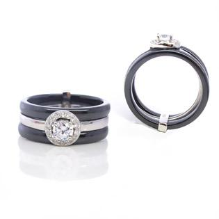 silver ring with black ceramic ring with cz