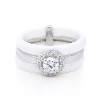 Silver ring with white ceramic ring with cz