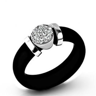 Sterling Silver Ring with Rubber and CZ