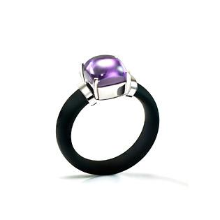 rubber ring with Amethyst Cabochone CZ