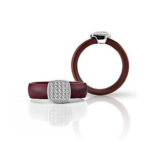Rubber Cubic Zirconia Ring