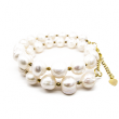 KELLY White Pearl and Gold Hematite Transformer Bracelet-Choker